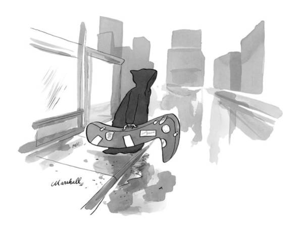 October 5th Drawing - The Grim Reaper Carries An Instrument Case Shaped by Marshall Hopkins