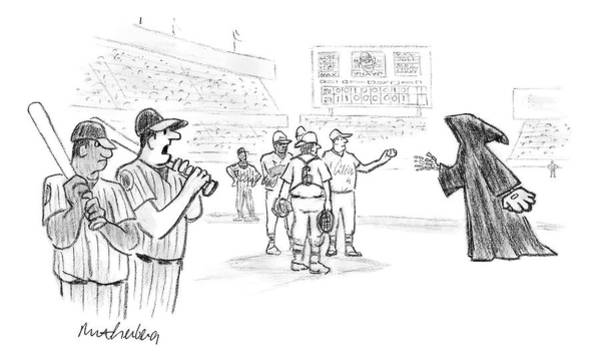 Team Drawing - The Grim Reaper Is A Relief Pitcher by Mort Gerberg