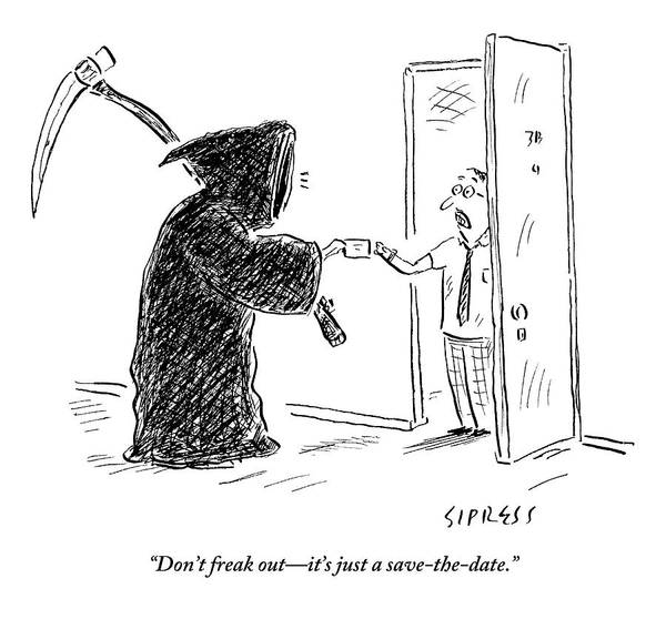 Frightening Drawing - The Grim Reaper Is Seen Giving A Piece Of Paper by David Sipress