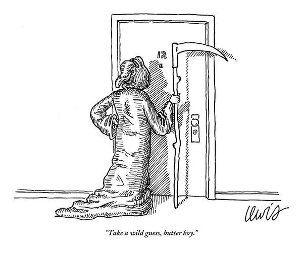 Death Drawing - The Grim Reaper Knocks On An Apartment Door by Eric Lewis