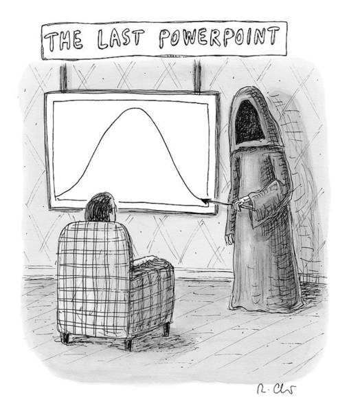 Death Drawing - The Grim Reaper Points To A Screen As A Man by Roz Chast