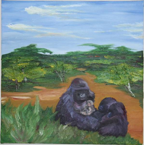Baby Gorilla Painting - The Guarded by Cole Condict