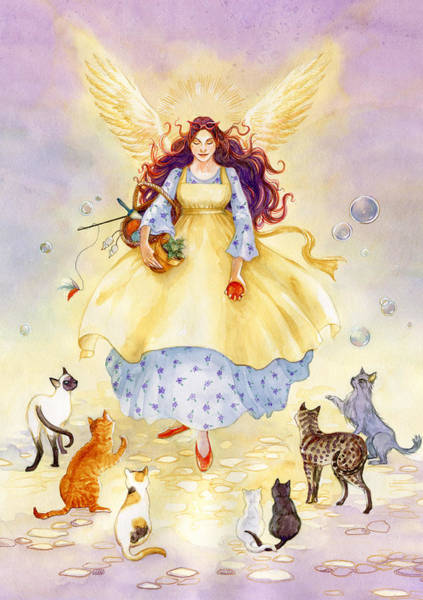 Wall Art - Painting - The Guardian Angel Of Cats by Janet Chui