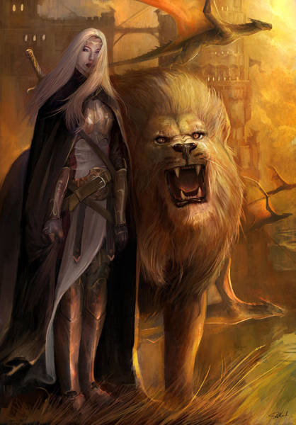 Lion Mixed Media - The Guardians by Steve Goad