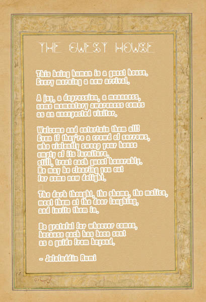 Wall Art - Digital Art - The Guest House Poem By Rumi by Celestial Images