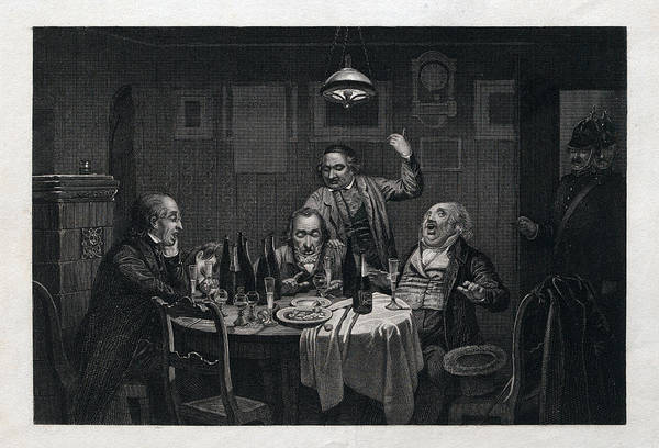 Caucasian Drawing - The Guests, 1864, Food And Drink, Table, Bottle, Bottles by English School