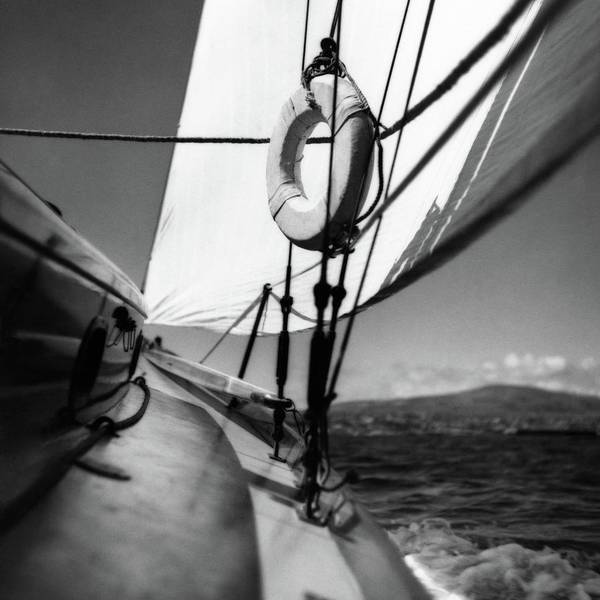 Water Photograph - The Gunwale Of A Sailboat by George Platt Lynes