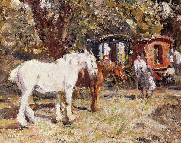 Chestnut Horse Painting - The Gypsy Encampment by Harry Fidler