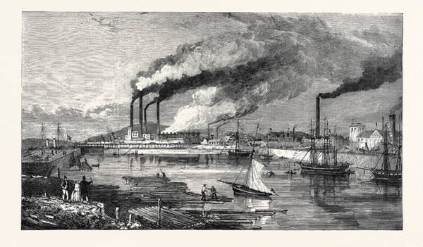 Steel Drawing - The Haematite Iron And Steel Works Hindpool by English School
