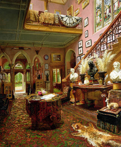 Wall Art - Painting - The Hall And Staircase Of A Country by Jonathan Pratt