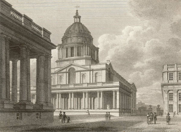 Wall Art - Drawing - The Hall Of Greenwich Navy  Hospital by Mary Evans Picture Library