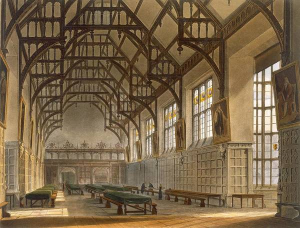 Beam Drawing - The Hall Of Trinity College, Cambridge by Augustus Charles Pugin