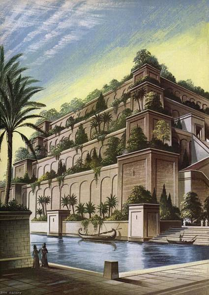 English Garden Photograph - The Hanging Gardens Of Babylon Colour Litho by English School