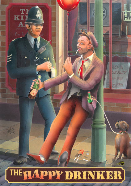 Tavern Painting - The Happy Drinker by MGL Meiklejohn Graphics Licensing