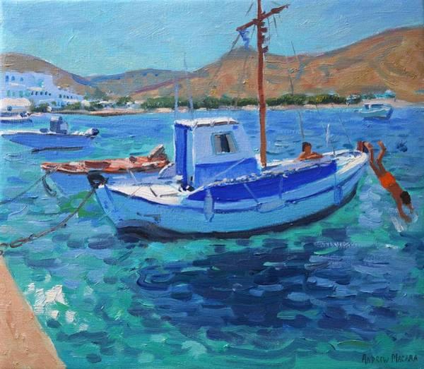 Macara Wall Art - Painting - The Harbor  Tinos by Andrew Macara