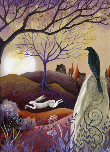 Folklore Wall Art - Painting - The Hare And Crow by Amanda Clark