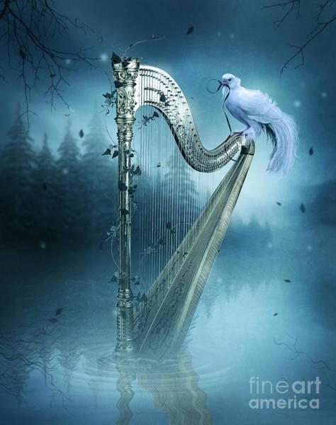 Harp Digital Art - The Harp by Jessica Allain