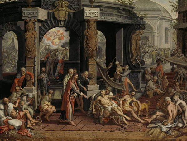 Healing Drawing - The Healing Of The Paralytic, Pool Of Bethesda by Litz Collection