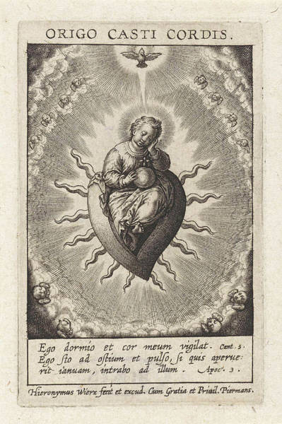 Holy Ghost Drawing - The Heart Morality, Hieronymus Wierix by Hieronymus Wierix
