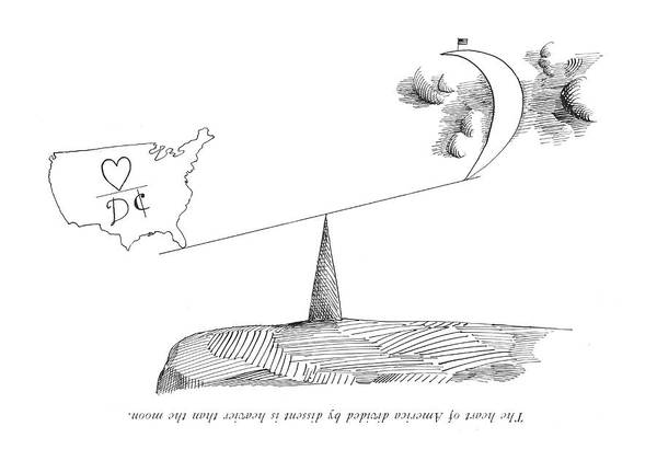 Drawing - The Heart Of America Divided By Dissent by Saul Steinberg