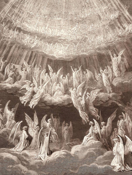 Dor Drawing - The Heavenly Choir, By Gustave DorÉ. Gustave Dore by Litz Collection