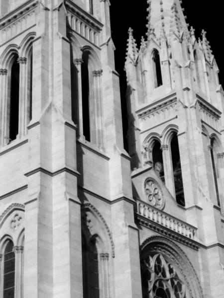 Photograph - The Heights Of The Cathedral Basilica Of The Immaculate Conception Bw by Angelina Tamez