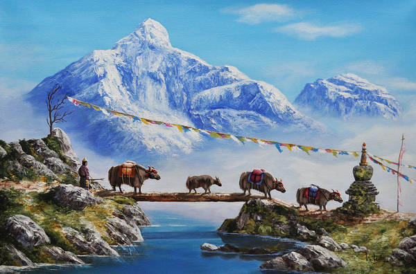 Yak Painting - The Himalayan Journey  by Karma  Loday