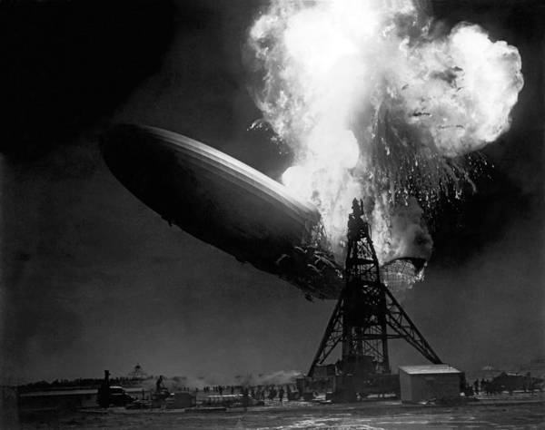 Fire Place Photograph - The Hindenburg In Flames by Underwood Archives
