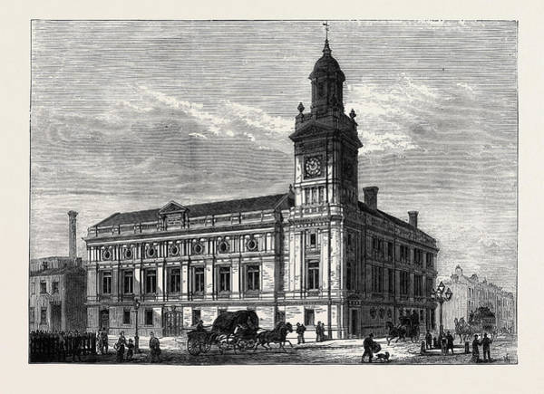 1880 Drawing - The Holborn Townhall London 1880 by English School