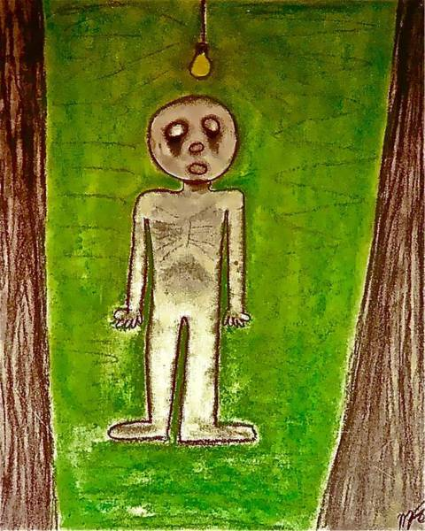 Drawing - The Hollow Men 88 - Lone Idea by Mario MJ Perron