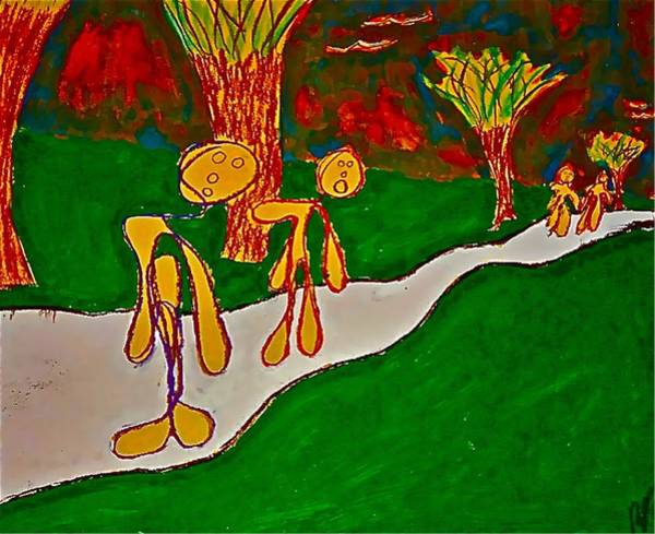 Painting - The Hollow Men 88 - Walk In The Park #1 by Mario MJ Perron