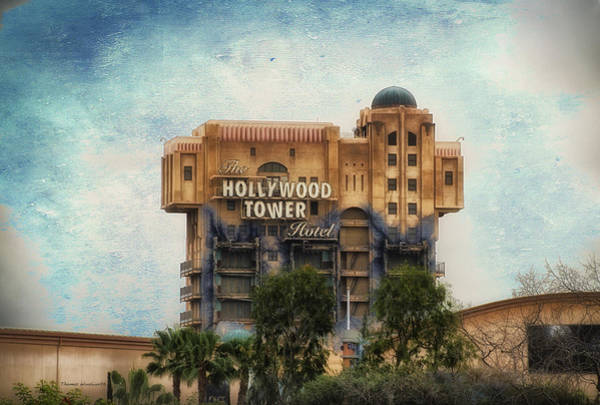 Wall Art - Photograph - The Hollywood Tower Hotel Disneyland Textured Sky by Thomas Woolworth