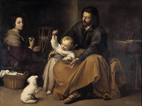 Painting - The Holy Family With Dog by Bartolome Esteban Murillo