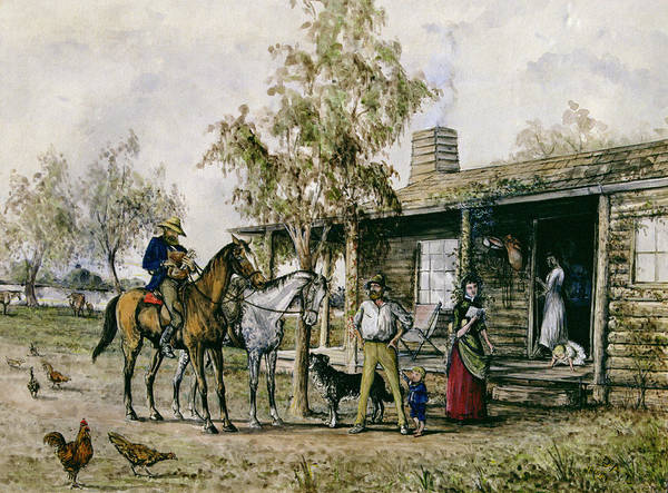 Farmstead Painting - The Homesick Pioneer Woman by J Comins