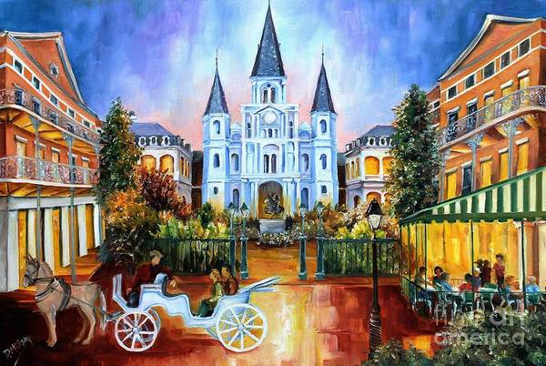 Cathedral Painting - The Hours On Jackson Square by Diane Millsap