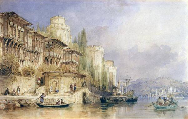 Riverbank Drawing - The House On The Bosphorus by Thomas Allom