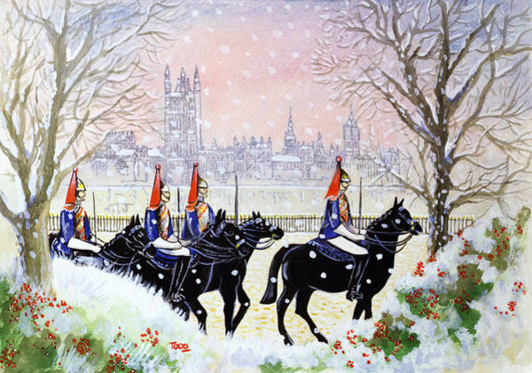 Houses Of Parliament Wall Art - Painting - The Household Cavalry by Tony Todd