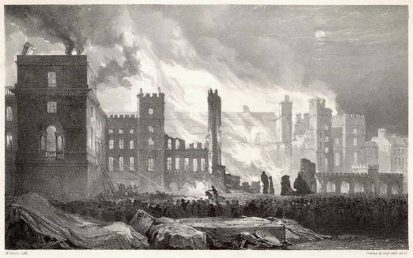 Wall Art - Drawing - The Houses Of Parliament Destroyed by Mary Evans Picture Library