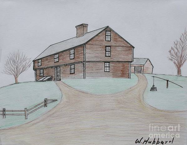 Homestead Drawing - The Hubbard Garrison by Bill Hubbard
