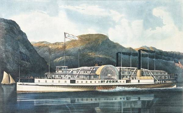 Paddling Photograph - The Hudson River Steamboat St. John, Published 1864 Colour Litho by N. Currier