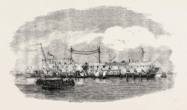 1854 Drawing - The Hulk Blake At Spithead 1854 by English School