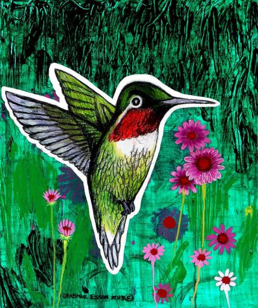 Floral Shower Curtain Painting - The Hummingbird by Genevieve Esson