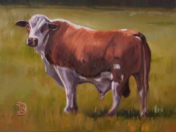 Hereford Bull Painting - The Hunk by Bobbie Deuell
