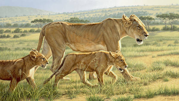 Lions Painting - The Hunting Lesson by Paul Krapf
