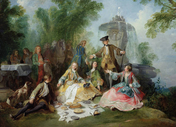 Wall Art - Photograph - The Hunting Party Meal, C. 1737 Oil On Canvas by Nicolas Lancret