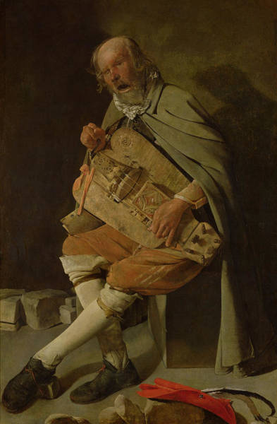 Busker Wall Art - Painting - The Hurdy Gurdy Player by Georges de la Tour