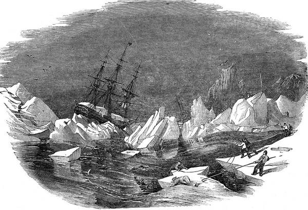 Wall Art - Drawing - The Ice Breaks Up During The  Boyage by  Illustrated London News Ltd/Mar