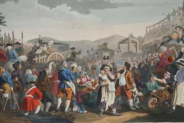 Cart Drawing - The Idle Prentice Executed At Tyburn by William Hogarth