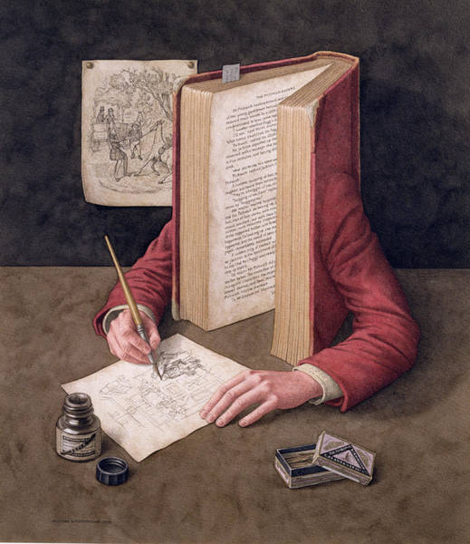 Wall Art - Photograph - The Illustrator, 2005 Wc On Paper by Jonathan Wolstenholme