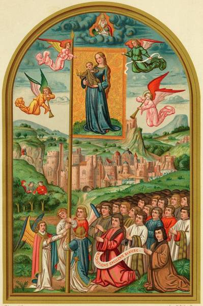 Angle Drawing - The Image Of The Virgin On A  Banner by Mary Evans Picture Library